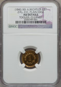 Territorial Gold, (1842-52) G$1 A. Bechtler Dollar, 27G. 21C., Plain Edge -- Tooled,Cleaned -- NGC Details. AU. K-24, R.3....