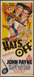 "Movie Posters:Comedy, Hats Off (Grand National, 1936). Australian Daybill (13"" X 30"").Comedy.. ..."