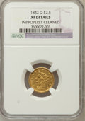 Liberty Quarter Eagles: , 1842-O $2 1/2 -- Improperly Cleaned -- NGC Details. XF. NGC Census:(10/103). PCGS Population (16/53). Mintage: 19,800. Num...