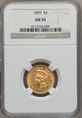 Three Dollar Gold Pieces, 1859 $3 AU55 NGC....