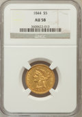 Liberty Half Eagles: , 1844 $5 AU58 NGC. NGC Census: (91/37). PCGS Population (14/28).Mintage: 340,330. Numismedia Wsl. Price for problem free NG...