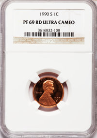 1990-S 1C PR69 Red Ultra Cameo NGC. NGC Census: (672/75). PCGS Population (3233/108). Numismedia Wsl. Price for problem...