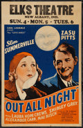 "Movie Posters:Comedy, Out All Night (Universal, 1933). Window Card (14"" X 22""). Comedy....."