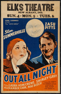 """Out All Night (Universal, 1933). Window Card (14"""" X 22""""). Comedy"""