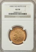 Indian Eagles: , 1908-D $10 No Motto AU58 NGC. NGC Census: (293/422). PCGSPopulation (206/385). Mintage: 210,000. Numismedia Wsl. Pricefor...
