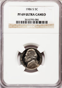 1986-S 5C PR69 Ultra Cameo NGC. NGC Census: (368/7). PCGS Population (3431/11). Numismedia Wsl. Price for problem free N...