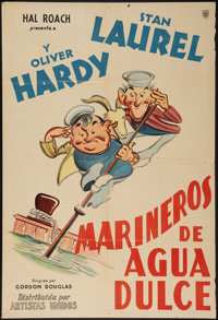 """Saps at Sea (United Artists, 1940). Argentinean Poster (29"""" X 43""""). Comedy"""