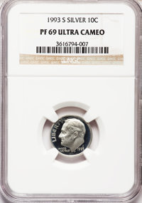 1993-S 10C Silver PR69 Ultra Cameo NGC. NGC Census: (708/112). PCGS Population (2242/130). Numismedia Wsl. Price for pro...