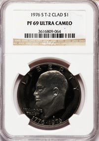 1976-S $1 Clad, Type Two PR69 Ultra Cameo NGC. NGC Census: (313/0). PCGS Population (14107/0). Numismedia Wsl. Price for...