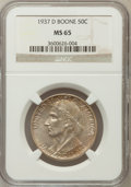 Commemorative Silver: , 1937-D 50C Boone MS65 NGC. NGC Census: (215/138). PCGS Population(275/195). Mintage: 2,506. Numismedia Wsl. Price for prob...