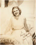 Memorabilia:Movie-Related, Jean Harlow Autographed Photo (c. 1930s)....