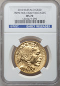 Modern Bullion Coins, 2010 $50 One-Ounce Gold Buffalo, Early Releases MS70 NGC. Ex: .9999Fine. NGC Census: (8849). PCGS Population (14048). (#...