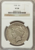 Peace Dollars: , 1928 $1 VF30 NGC. NGC Census: (19/5539). PCGS Population (21/7683).Mintage: 360,649. Numismedia Wsl. Price for problem fre...