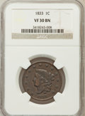 Large Cents, 1833 1C VF30 Brown NGC. NGC Census: (7/281). PCGS Population(8/167). Mintage: 2,739,000. Numismedia Wsl. Price for problem...