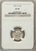 Mercury Dimes: , 1931-D 10C XF45 NGC. NGC Census: (1/181). PCGS Population (11/207).Mintage: 1,260,000. Numismedia Wsl. Price for problem f...