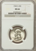 Washington Quarters: , 1945-S 25C MS66 NGC. NGC Census: (592/156). PCGS Population(522/35). Mintage: 17,004,000. Numismedia Wsl. Price for proble...