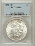 Morgan Dollars: , 1878-CC $1 MS63 PCGS. PCGS Population (7572/7834). NGC Census:(4799/5795). Mintage: 2,212,000. Numismedia Wsl. Price for p...