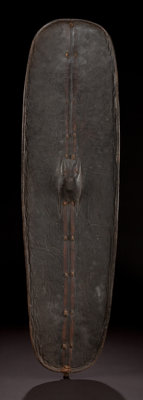 AN EAST AFRICAN PAINTED LEATHER SHIELD Kavirondo, early 20th century 52 high x 13-1/2 inches wide (