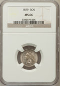 Three Cent Nickels: , 1879 3CN MS66 NGC. NGC Census: (19/4). PCGS Population (35/9).Mintage: 38,000. Numismedia Wsl. Price for problem free NGC/...