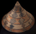 African, A SOUTH AFRICAN WOVEN IMBENGE. Zulu, early 20thcentury. 18-1/4 inches high x 11 inches diameter (46.4 x 27.9 cm...