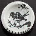 Ceramics & Porcelain, A MADOURA POTTERY EARTHENWARE BOWL AFTER PABLO PICASSO (Spanish, 1881-1973): BIRD ON BRANCH . Vallauris, France, cir...