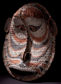 AN OCEANIC WOVEN AND PAINTED GABLE MASK Middle Sepik River, Papua, New Guinea, 20th century 22-1/2 inches high