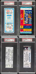Baseball Collectibles:Others, 1977-2003 Major League Baseball Historic Games Full Tickets Lot of4 - PSA Graded. ...
