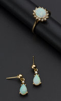 Estate Jewelry:Other , Opal & Gold Earrings & Ring. ... (Total: 2 Items)