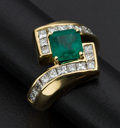 Estate Jewelry:Rings, Outstanding Emerald & Diamond 18k Gold Ring. ...