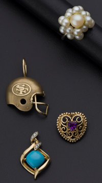 One Pearl Ring And Three Gold Pendants