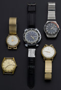 Timepieces:Wristwatch, Five Gent's Automatic Wristwatches For Parts Or Repair Runners. ...(Total: 5 Items)