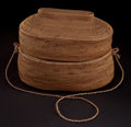 African, AN AFRICAN WOVEN BASKET WITH LID . 20th century . 6-3/4 inches highx 9 inches long x 5-1/2 inches wide (17.1 x 22.9 x 14.0 ...