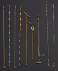 Timepieces:Watch Chains & Fobs, A Lot Of Nine Gold Filled Watch Chains. ... (Total: 9 Items)
