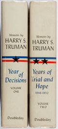 Books:Biography & Memoir, Harry S. Truman. Memoirs. Vol. I & II. Doubleday, 1955.First edition, first printing. Offsetting. Toning. Near ... (Total:2 Items)