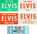 Music Memorabilia:Tickets, Elvis Presley Concert Ticket and Passes Group (1971-77).... (Total:5 Items)