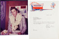 Music Memorabilia:Photos, Elvis Presley - 1957 Hawaii Photo and Letter....