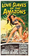 "Movie Posters:Adventure, Love Slaves of the Amazons (Universal International, 1957). ThreeSheet (41"" X 77"").. ..."