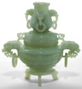 Asian:Chinese, A CHINESE CARVED JADE CENSOR . Late Qing Dynasty . 7-1/4 inches(18.4 cm). ... (Total: 2 Items)