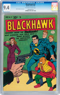 Golden Age (1938-1955):War, Blackhawk #31 (Quality, 1950) CGC NM 9.4 Off-white to whitepages....