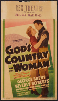"God's Country and the Woman (Warner Brothers, 1937). Mini Window Card (8"" X 14""). Romance"