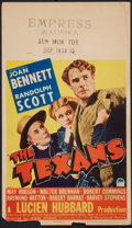"Movie Posters:Western, The Texans (Paramount, 1938). Mini Window Card (8"" X 14"").Western.. ..."