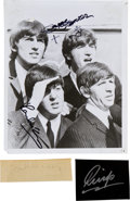 Music Memorabilia:Autographs and Signed Items, Beatles Autograph Set in Three Items. ...