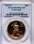 Modern Bullion Coins: , 1993-W G$50 One-Ounce Gold Eagle PR70 Deep Cameo PCGS. PCGSPopulation (76). NGC Census: (321). Mintage: 34,389. Numismedia...