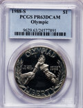Modern Issues: , 1988-S $1 Olympic Silver Dollar PR63 Deep Cameo PCGS. PCGSPopulation (6/3530). NGC Census: (1/3971). Mintage: 1,300,000. N...