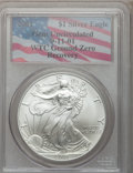 Modern Bullion Coins, 2001 G$1 Silver Eagle Gem Uncirculated PCGS. Ex: 9-11-01 WTC GroundZero Recovery. PCGS Population (1/23555). NGC Censu...