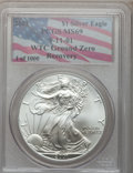 Modern Bullion Coins, 2001 G$1 Silver Eagle MS69 PCGS. Ex: 9-11-01 WTC Ground ZeroRecovery. PCGS Population (1/23555). NGC Census: (0/81706)...