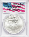 Modern Bullion Coins, 2001 G$1 Silver Eagle Gem Uncirculated PCGS. Ex: 9-11-01 WTC GroundZero Recovery. PCGS Population (1/23555). NGC Census: (...