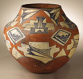 Native American:Pottery and Baskets, Acoma Polychrome Pottery Jar. Circa 1890. Height 11 1/2 in. Width12 1/2 in.. This olla is characterized by its graceful f...