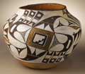 Native American:Pottery and Baskets, Acoma Polychrome Pottery Jar. Circa 1930. Height 9 1/4 in. Diameter11 3/4 in.. This typical three-color olla has a concav...