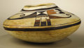 Native American:Pottery and Baskets, Hopi Polychrome Pottery Jar attributed to Nampeyo. Circa 1900.Height 4 1/2 in. Width 9 1/2 in.. The jar is characterized ...
